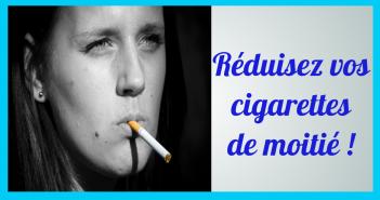 femme avec cigarette à la bouche et titre